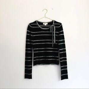 TSE 100% Cashmere Black & Grey Striped Sweater